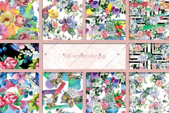 100 Patterns Of Flower Bouquets Jpg Acquerello Set Digitale