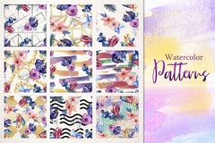 Watercolor Flower Bouquet PNG set