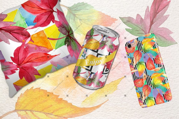 Cool Autumn Leaves Png Watercolor Set Digital