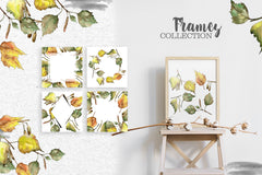 Leaves Birch Yellow Watercolor png