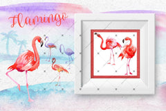 Watercolor Pink Flamingo Png Set Digital