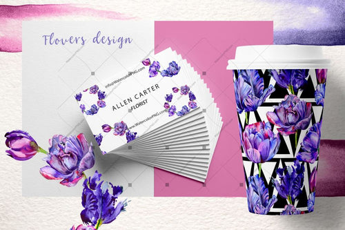 Lovely Purple Tulip Png Aquarell Set Digital