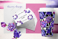 Lovely Purple Tulip Png Watercolor Set Digital