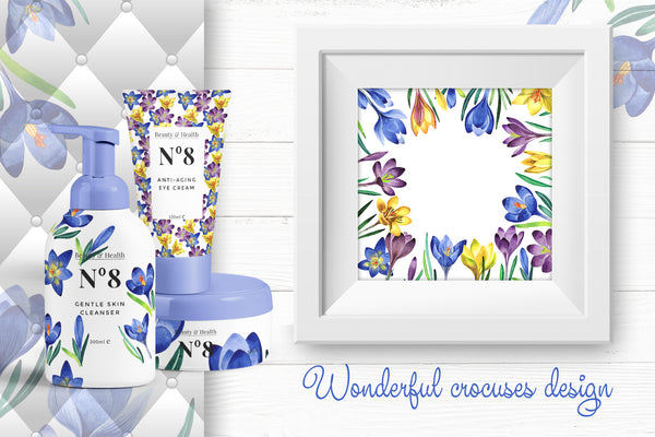 Light blue crocuses PNG watercolor