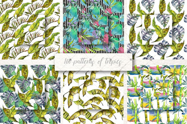 100 Patterns Of Tropics Jpg Watercolor Set Digital