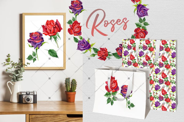 Roses Watercolor Png Set Digital
