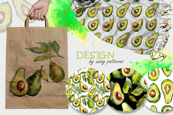 Avocado event PNG watercolor set