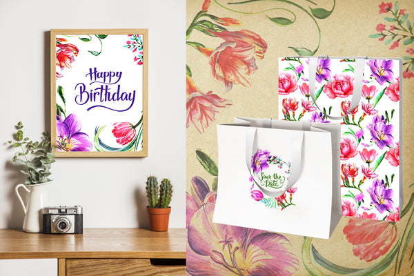 Solar light peonies PNG watercolor set