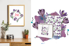 Crocuses flower PNG watercolor set