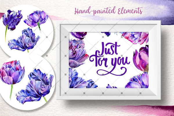 Lovely Purple Tulip Png Set acuarelă digitală
