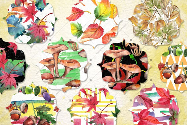 100 Autumn Patterns Jpg Watercolor Set Сандық