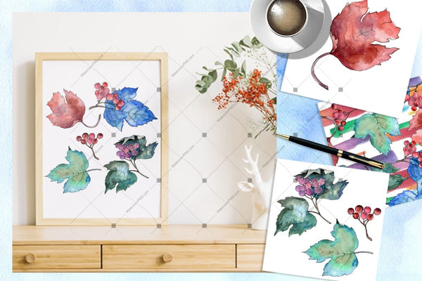 Watercolor Viburnum Png Leaves Set Digital
