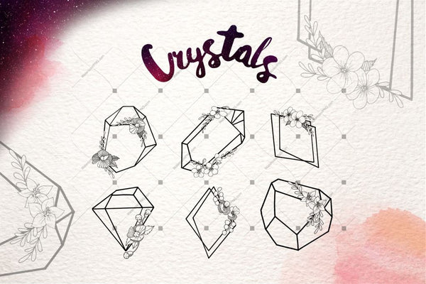 Crystals Wonderful Vector Set Digital