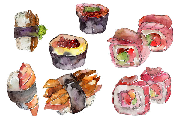 Japanese sushi watercolor png