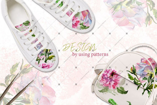 Elegant Peony Png Watercolor Flower Set Digital