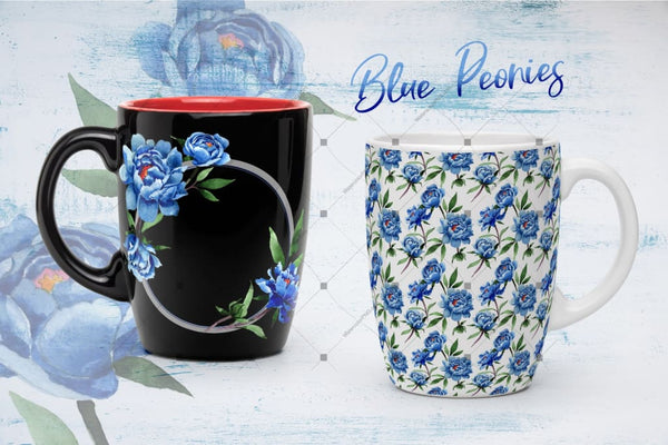 Cool Blue Peonies Png Watercolor Flower Set Digital