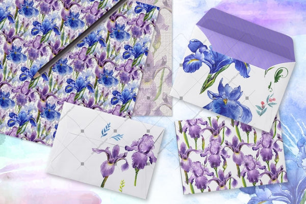 Tender Watercolor Irises Png Set Digital