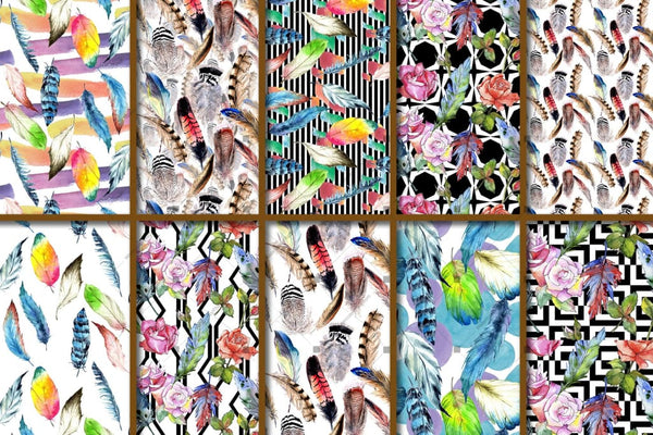 100 Patterns Of Feather Jpg Watercolor Set Digital