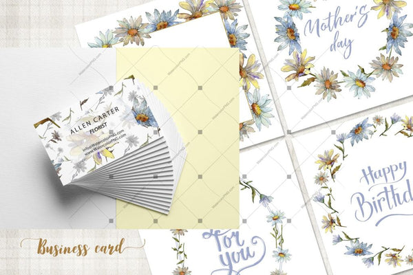Cool White Chamomile Png Watercolor Set Digital