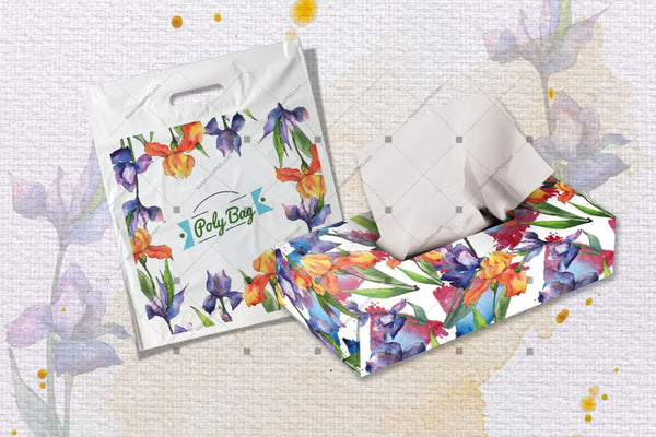 Jeruk Dan Ungu Irises Png Cat Bunga Air Set