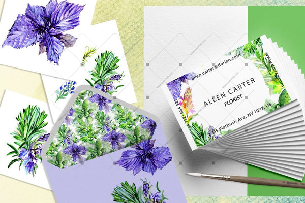 Bouquet Of Herbs Png me ngjyra uji Set Digital