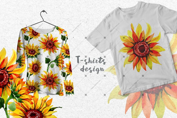 Sunflower Png Watercolor Flower Set Digital