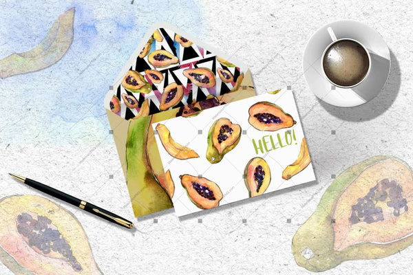 Tropical Fruits Png Watercolor Set Digital