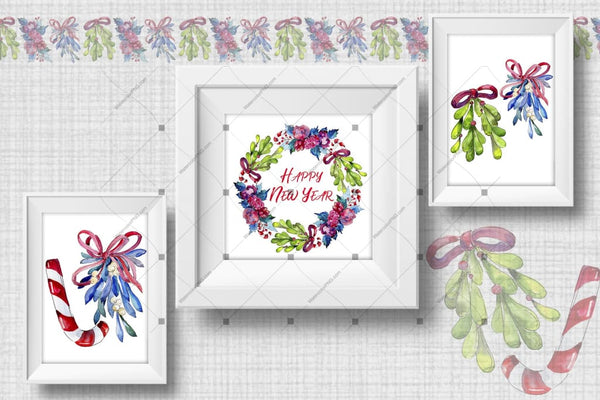 Christmas Winter Holiday Png Watercolor Set Digital