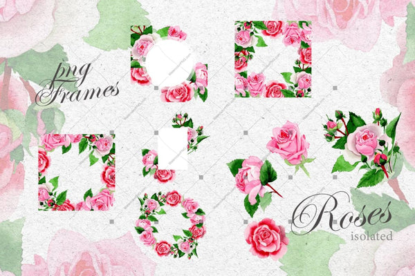 Pink Roses Png Watercolor Design Set Digital