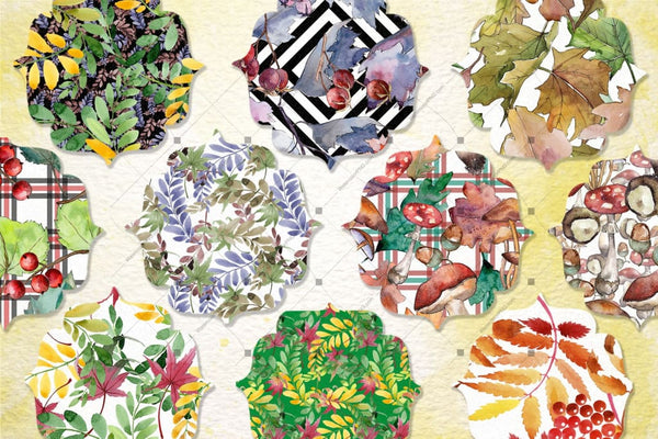 100 Autumn Patterns Jpg Watercolor Set Digital
