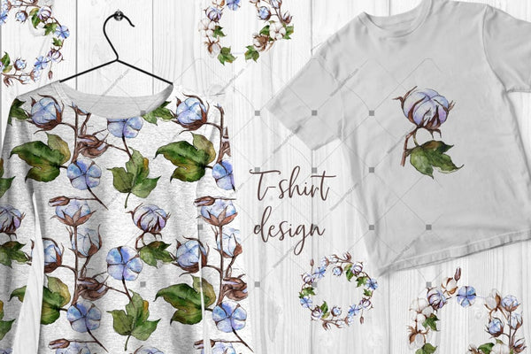 Blue And White Cotton Png Watercolor Set Digital