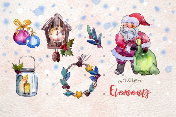 Merry Christmas Holiday Png Watercolor Set Digital