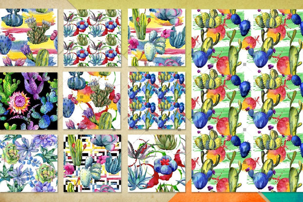 Watercolor 100 Cacti Patterns Jpg Set Digital