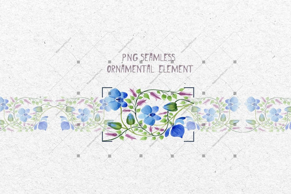 Ornament Of Blue Flowers Png Watercolor Set Digital