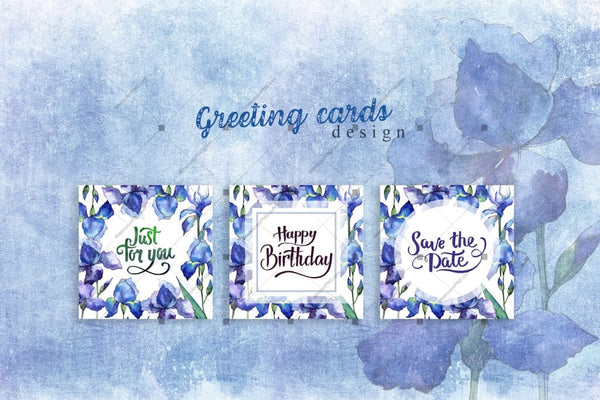 Nice Blue Irises Png Watercolor Set Digital