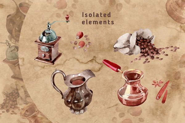 Coffee house PNG watercolor set