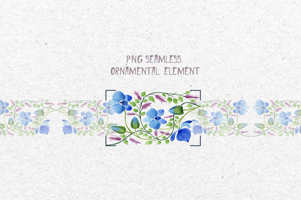 Ornament of blue flowers PNG watercolor set