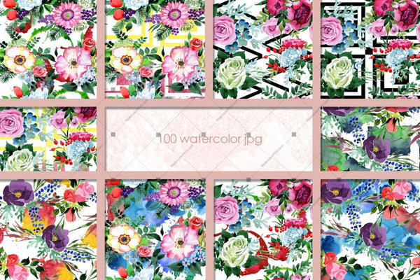 Pàtranan 100 de Bhouquets Flower Jpg Watercolour Set Digital