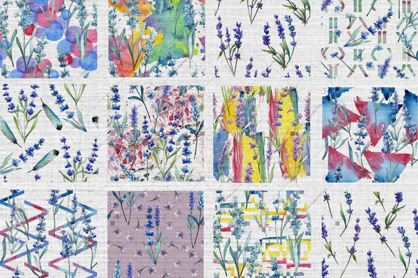 100 Patterns Of Lavender Flower Jpg Watercolor Set Digital