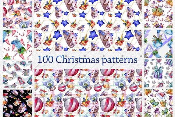 100 Patterns Of Christmas Jpg Watercolor Set Digital