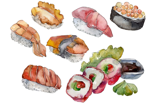 Sushi set Philadelphia watercolor png