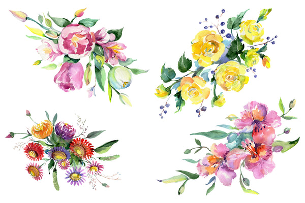 Bouquet of flowers mature feelings watercolor png