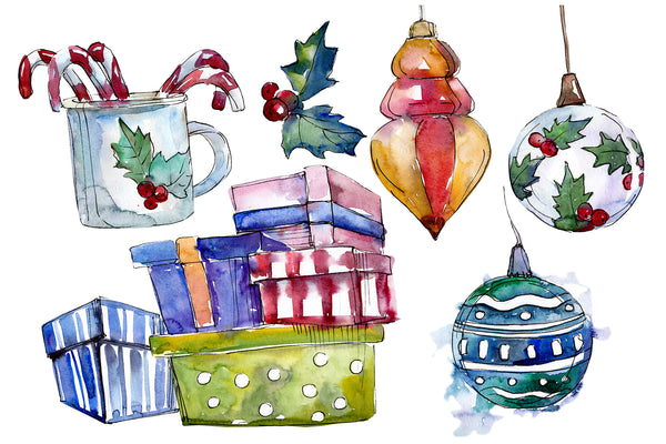 Christmas tea drinking watercolor PNG