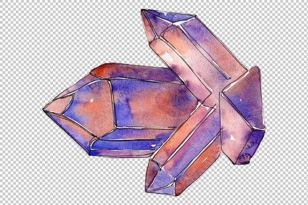 Crystals are many-sided Watercolor png Flower