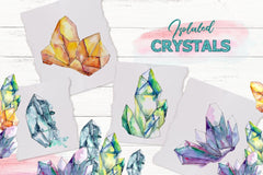 Crystals blue and yellow Watercolor png Digital