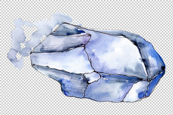 Crystals blue Watercolor png Flower