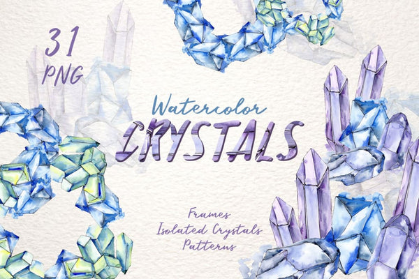 CRYSTALS blue Watercolor png Digital