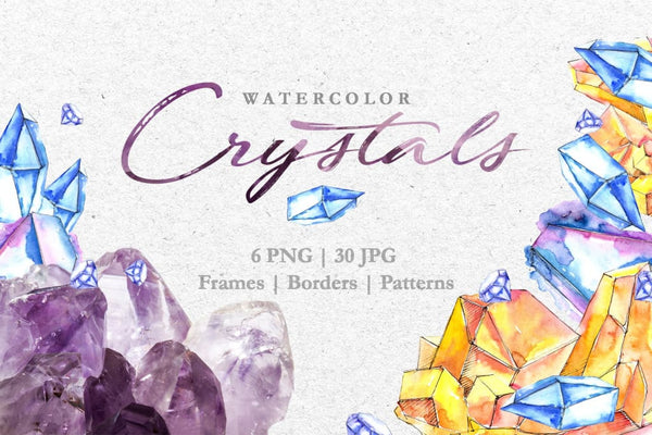 Crystals Blue-yellow Watercolor png Digital