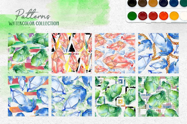 Crystals Corundum red blue and green Watercolor png Digital