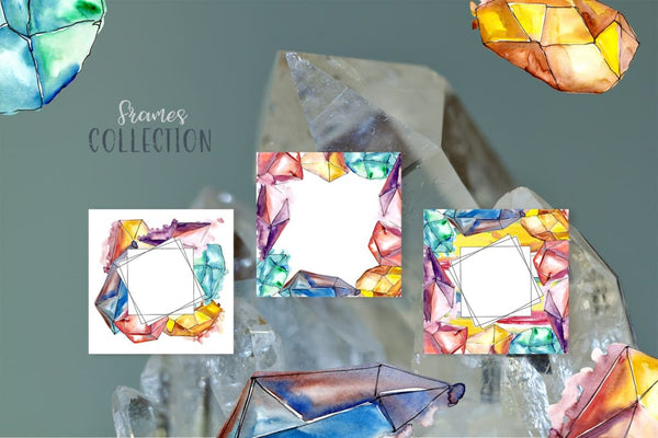 Crystals Watercolor Lilac color png Digital